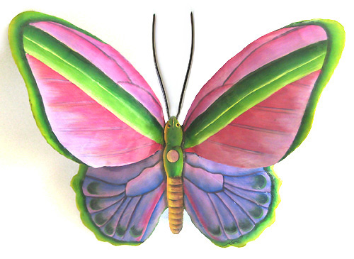 Handcrafted Butterfly Garden Art Hand Painted Butterfly Metal Wall Hanging In Pink Purple 12 X 15