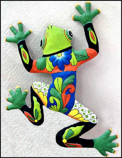 Green Hand Painted Frog Metal Wall, Metal Frog Garden Decor