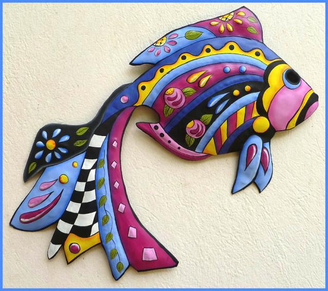Tropical Fish Art Painted Metal Wall Art Tropical Decor Metal Wall Hanging Haitian Art 15 X 24