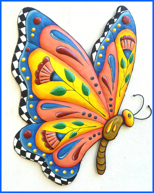 Painted Metal Erfly Wall Decor