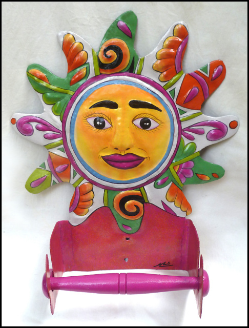 Hand Painted Metal Bathroom Decor Wall Hooks And Toilet Paper Holders Tropical Designs