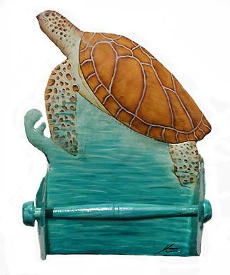 Toilet Paper Holder Painted Metal Sea Turtle Bathroom Decor Tropical Decor Toilet Tissue Holder