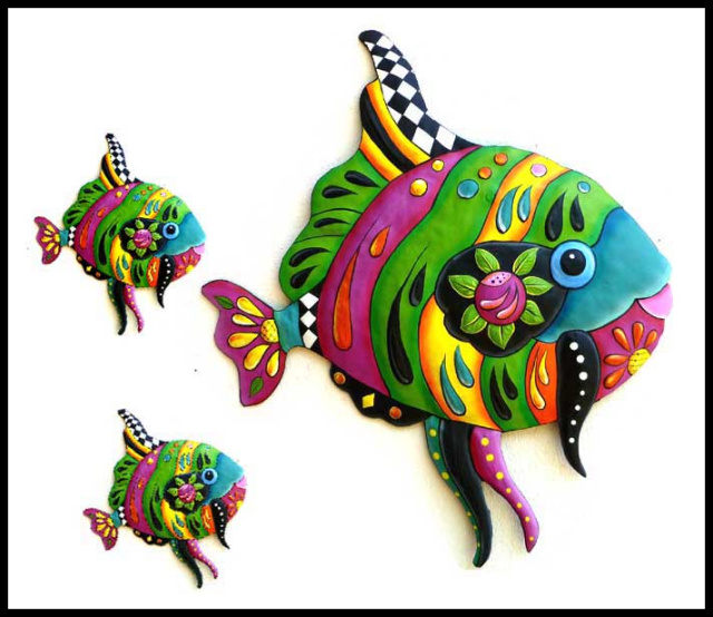 Hand Painted Metal Tropical Fish Wall Art Decorative Tropical Fish Wall Decor Handcrafted Tropical Fish Wall Hanging Metal Art Tropical Fish Decor Pool Art Hand Painted Metal Tropical Decor Steel Drum Metal