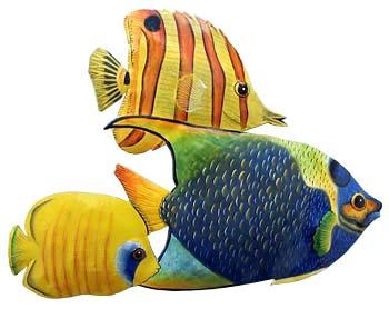 Painted Metal Tropical Fish Wall Decor Tropical Metal Art Caribbean Decor Garden Decor 15