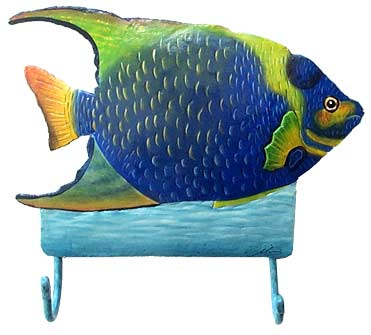 Hand Painted Metal Tropical Fish Wall